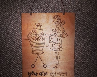 Pyrography pregnancy gift ornament