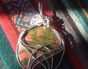 Unakite Wire wrapped Gemstone Pendant on silver chain.