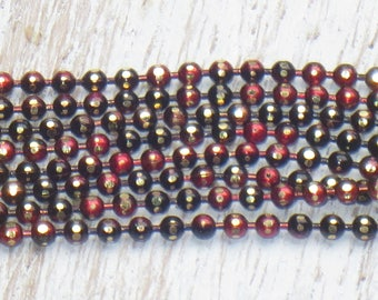 1mm Gunmetal with Gold and Red Electroplated Diamond Cut Ball Chain 2 ft.