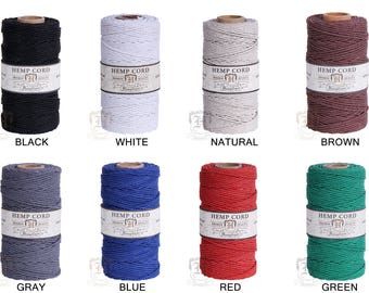 2MM Solid Polished Hemp Twine Hemptique Cord Macrame String Artisan Thread 48lbs - 205ft Spool