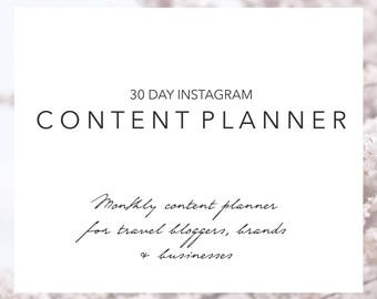 30 Day Instagram Content Planner | Instagram Planner | Instagram Content Plan | Instagram Calendar | Social Media | Monthly Planner