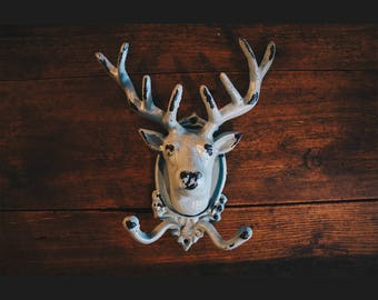 Large Heavy Cast Iron Stags Head Coat Hook with a Beautiful Rustic Blue Distressed Shabby Finish Deer Head Hook