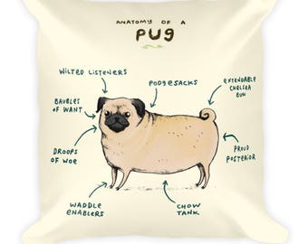 Anatomy of a Pug pillow cover