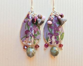 Boho Rustic Art Nouveau tin earrings