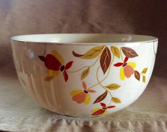 Vintage Hall's Superior Dinnerware Jewel Tea Autumn Leaf Radiance Mixing Bowl. Mary Dunbar Tested And Approved.
