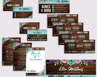 Agnes Dora Marketing Kit, Agnes and Dora Bundle, PERSONALIZED Agnes Dora Cards, Agnes Dora Marketing, Wooden Background, Printable AG09