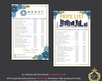 Personalized Monat Price List Double-sided card, Monat Business Card, Monat Hair Care, Monat Global, Monat Business Card - Monat Flyer MN23