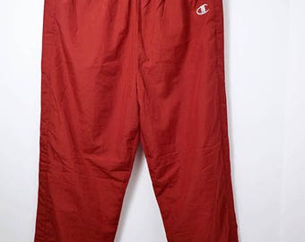 CHAMPION vintage sport shell pants | Branded Old School red button 90's track trousers | Size - L