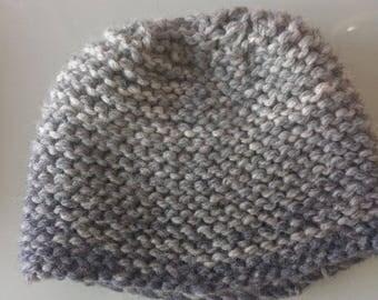 Hat grey / blue woolen woman