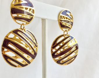 Berebi Purple Enamel Zig Zag Cut Outs Gold Tone Circle Drop Pierced Vintage Earrings