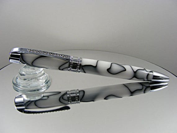 Ink Pen with Clear Crystals in Chrome and Acrylic