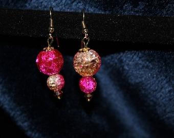Pink Double Drop Gold Earrings