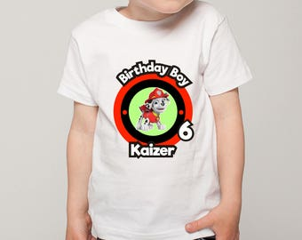 Personalized Paw Patrol Marshall Tee Tshirt Image Iron On Transfer Birthday Party Shirt Red Black Printable DIY - Digital File