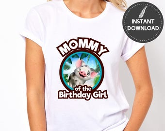 Instant Download - Moana Mother of the Birthday Girl Tshirt Image Iron On Transfer Printable Digital File for Birthday Party