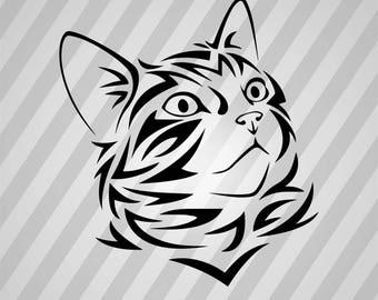 Cat Tribal Silhouette - Svg Dxf Eps Silhouette Rld RDWorks Pdf Png AI Files Digital Cut Vector File Svg File Cricut Laser Cut