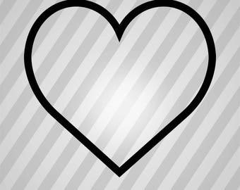 Heart Silhouette Outline - Svg Dxf Eps Silhouette Rld RDWorks Pdf Png AI Files Digital Cut Vector File Svg File Cricut Laser Cut