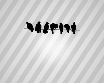 birds on a wire Silhouette - Svg Dxf Eps Silhouette Rld RDWorks Pdf Png AI Files Digital Cut Vector File Svg File Cricut Laser Cut