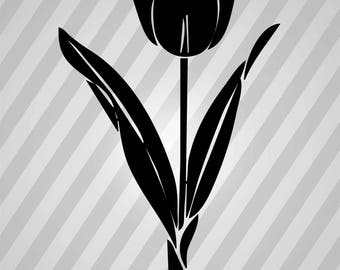 Tulip Silhouette -  Svg Dxf Eps Rld Rdworks Pdf Png Ai Files Digital Cut Vector File Svg File Cricut Laser Cut