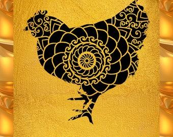 Chicken Papercut Template Mandala Henna - Svg Paper Cut Templates Stencil Line Art Pdf Cut Files Digital Clip Art Drawing