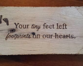 Wood burned Memorial Sign in Memory of a Miscarried Baby