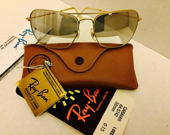 New vintage caravan Ray Ban Mirrored Gray Reading  sunglasses BL bausch lomb usa 58mm w/ case NOS
