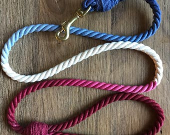 Two-color ombrè rope leash (5ft)