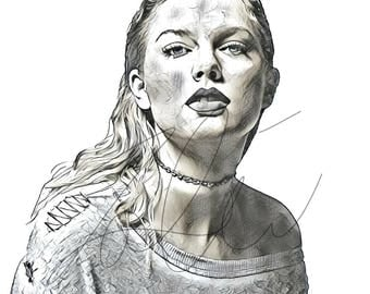 Taylor Swift Drawing Sketch PRINT Wall Art Illustration Celebrity Singer  Hand Drawn Portrait Charcoal Artwork Monochrome