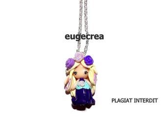 Little flower girl necklace purple polymer clay