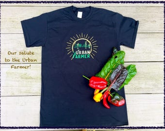 Urban Farmer T-Shirt, FREE seeds included! Gift for urban gardeners, urban farmers.