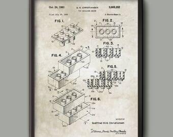 Lego Patent Prints - Lego Wall Art Poster Set - Lego Bedroom Art Poster - Boys Bedroom Decor - Lego Gift - Vintage Poster - Vintage