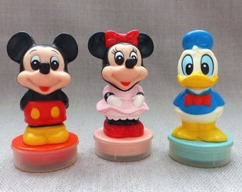 3 x Rare Vintage DISNEY Rubber Ink Stampers Stamps by TOMY Mickey Minnie & Donald Duck