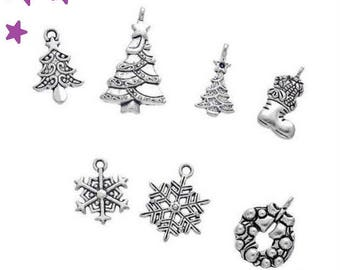 7 charms from 29 to 15 mm mixed Christmas tree, wreath, Christmas boot, snowflake, silver metal