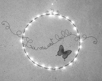 Circle wall hanging, with bright Garland, message writing in wire