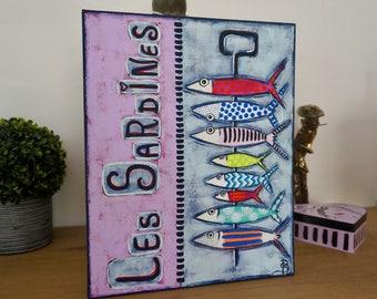 Unique contemporary colorful sardines painting
