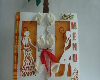 Easel card menu Kit window for wedding theme madras make you even