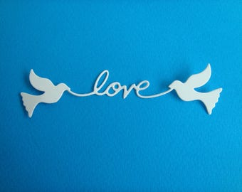 """""""Love"""" cutout banner with 2 doves creation white drawing paper"""