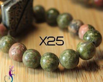 25 8mm Green unakite beads
