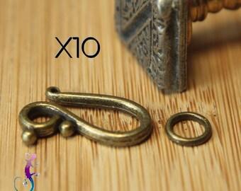 10 antiqued bronze clasps