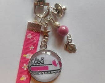 "Bag charm, Keychain / baby/FUTURE MOM / ""Baby loading"" / gift / birthstone / thanks"