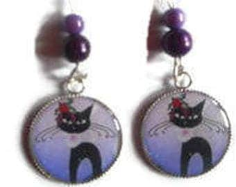 Cabochon earrings / cat Christmas resin with sparkly sequins / gift / birthday / mothers/thanks/Christmas party