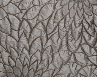 jacquard, 5 meters, flowers, METALLIC LATTE, polyester fabric