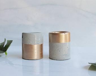 "Rose Gold Concrete Trinket Dish - Small Cylinder Pot - 2 1/4"" Tall - Office Desk Decoration"