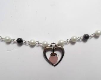 heart rose quartz and hematite necklace