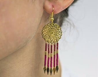 Earrings gold and pink - Penelope Bohemian chic inspired dream catcher