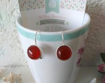 Stud Earrings in silver with gemstones carnelian ochre for pierced ears
