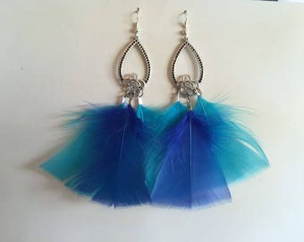 Feather earrings blue silver 12 cm support
