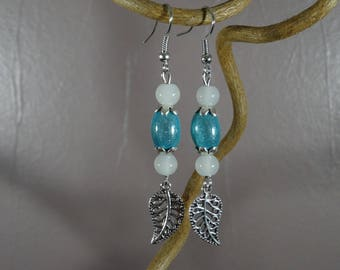 Long earrings - silver - magical miracle - leaf charm - white - blue