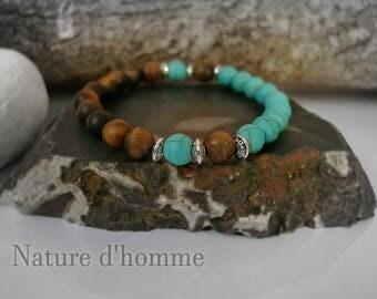 Mens stone bracelet matte turquoise and Tiger eye Ref: BN-173