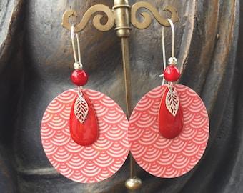 Silver red origami leaf earrings