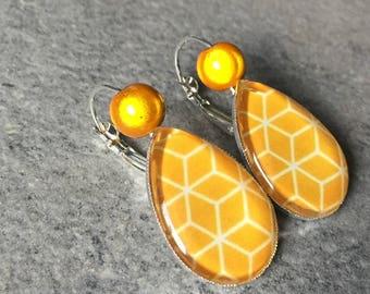Silver earrings Honey yellow